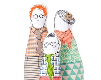 60th birthday gifts , hipster Family , Ornamental Doll , Family Portrait dolls , Parents & boy , Personal family ,likeness dolls ,dolls Set