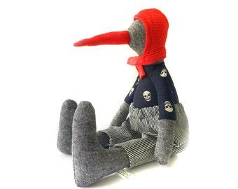 Penguin doll , Bird Stuffed Animal , Soft rag doll plushie , Softie gray linen duck doll , Animal clothn doll , Soft sculpture textile bird