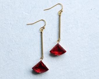 Ruby Red Art Deco Stick Earrings ... Garnet July January Birthstone