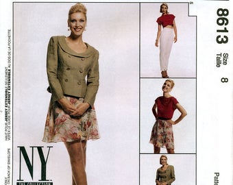 McCall's 8613 NY Collection Sewing Pattern for Misses' Lined Jacket, Top, Pants and Skirt - Uncut - Size 8