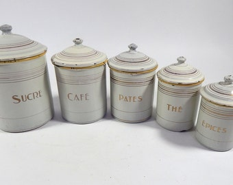 5 French Vintage Enamelware Canisters Complete Set with Lids Cream Yellow and Gold