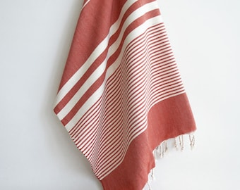 SALE 50 OFF / Turkish Beach Bath Towel / Classic Peshtemal / Red / Wedding Gift, Spa, Swim, Pool Towels and Pareo