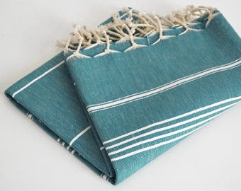 SALE 50 OFF/ Turkish Beach Bath Towel / Classic Peshtemal / Teal Green / Wedding Gift, Spa, Swim, Pool Towels and Pareo