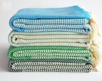 NEW / SALE 50 OFF/ BathStyle / Diamond Style Turkish Beach Bath Towel Peshtemal / Green-Blue-Mint Green