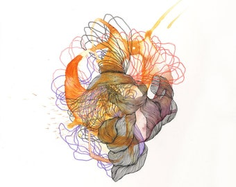 Element XXVII / Giclee print / organic / muscles / botany / abstract painting/ drawing / elemental / fire / air / earth / embers / energy