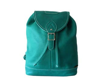Zatchel Boho Green Leather Drawstring Backpack Made in England