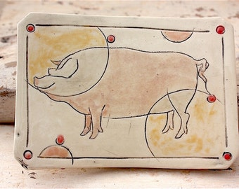 Ceramic Stoneware Soap Dish with Standing Pig
