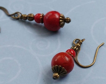 Red Coral Gemstone Earrings With Antiqued Brass, Bronze