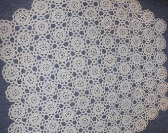 "Vintage Ecru Crocheted Doily, 15"" diameter, perfect condition"