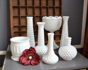 Collection of Seven Vintage Milk Glass Vases White Wedding Table Display Round Flower Holders Lot Tall Hobnail Various Sizes Antique Decor