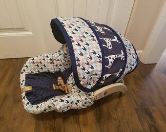 Houndstooth with Giraffe accent- Custom baby car seat cover- Always comes with Free Strap Covers - orders are custom made for your car seat