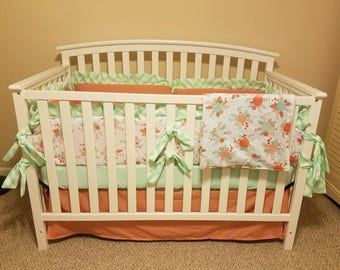 SALE - 4pc set Baby girl crib bedding in mint coral and chevron accents (skirt, blanket, bumper pads, crib sheet) - FREE SHIPPING