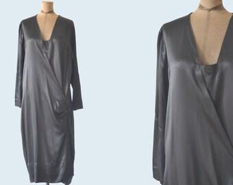 1920s Black Silk Flapper Dress size M