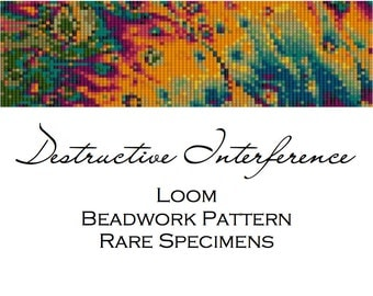 Destructive Interference - Soap Bubble Iridescence Loom Beadwork Pattern - Cuff Bracelet - Bookmark - Beaded Tapestry - PDF instant download