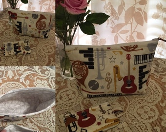 Musical Instruments Cosmetic Storage Bag and Matching Change / Credit Card / Lip Stick Pouch Handmade Organic Fabric Music