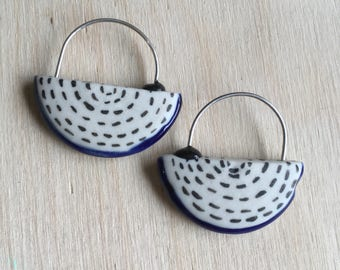 White and Black dashes and glaze stripe on porcelain hoop earrings