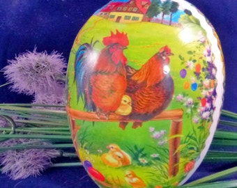 Vintage Hen Rooster Baby Chicks Nestler Germany Paper Mache Easter Egg Container, 1980s