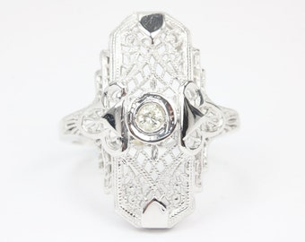 0.20ct Diamond Cocktail Ring, Art Deco Diamond Ring, 14K Right Hand Statement, Old Mine European Cut Filigree Milgrain Ring, Edwardian Ring