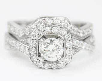 1.23ct Diamond Wedding Set, Wedding Set, Diamond Band, Diamond Wedding Band, Diamond Engagement Ring, Modern Engagement Set, Bridal Ring Set