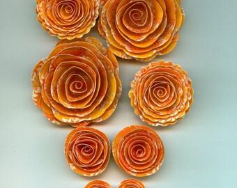 Sunshine Handmade Spiral Paper Flowers Orange Sun, Sun rays