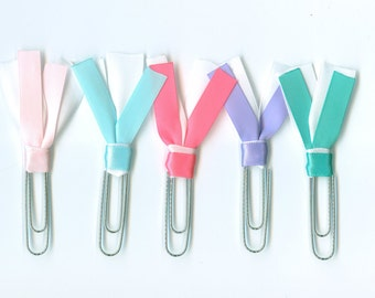 Pastel Ribbon Paper Clips, Planner clips, Bookmarks