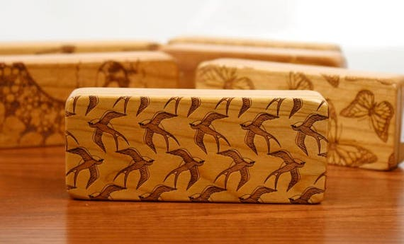 "Bird pattern Jewellery Box, 5"" x 2"" x 1"", Pattern ST5, Solid Cherry, Rare Earth Magnets, Stash Storage Box, Paul Szewc, Masterpiece Laser"