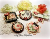 Graphic 45 Mon Amour Handmade Scrapbook Embellishments, Paper Embellishments for Scrapbooking Layouts Cards Mini Albums Tags Paper Crafts