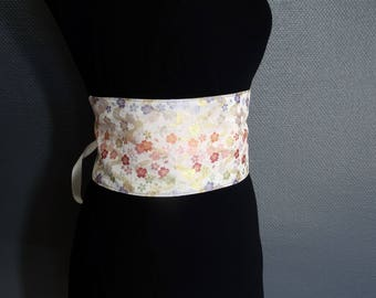 cherry blossom on white, reversible brocade obi belt