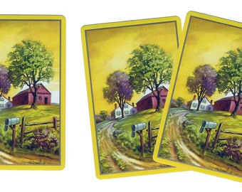 FARM VISIT (3) Vintage Single Swap Playing Cards Paper Ephemera Scrapbook