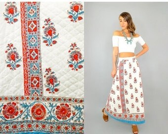 SPRING SALE 70's Ethnic QUILTED Skirt