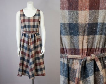 70s Vintage Sleeveless Plaid Belted Midi Dress (M)