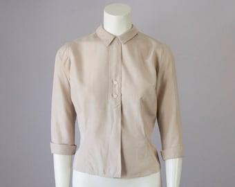 50s Vintage Tan Silk Collar Blouse (XS Petite)