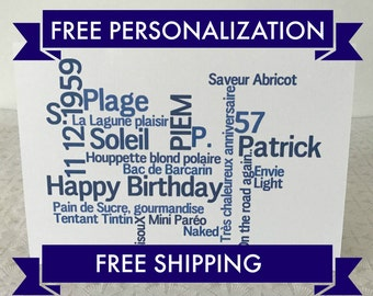 Bi-lingual French English Birthday card, SHIPS FAST and FREE, Free Personalization