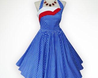 Glamorous American Flag Inspiration 50s Pin up Rockabilly Swing Dress Full Swing Skirt