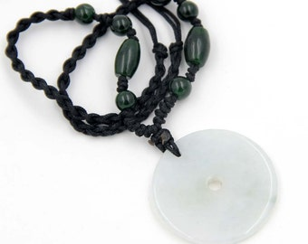 Natural Jade Jadeite Circle Donut Peace Button Bead Pendant Necklace 30mm x 30mm  T0223R