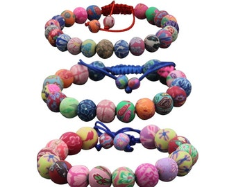 3Pcs(8mm,10mm,12mm)Adjustable Fimo Polymer Clay Prayer Beads Mala Bracelet For Meditation H002