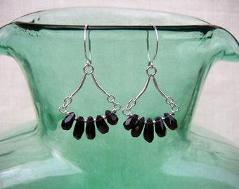 Red Garnet Teardrop Earrings Small Sterling Silver Dangles January Birthstone Small Red Gemstone Fringe Earrings