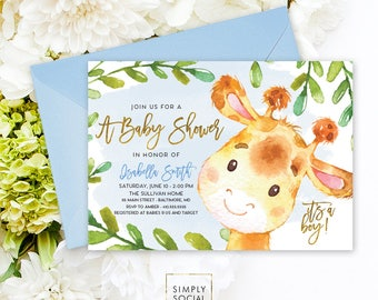 Giraffe Baby Shower Invitation - Blue Boho April Giraffe It's A Boy Jungle Baby Shower Invitation Watercolor Calligraphy Printable
