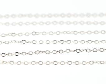 Silver Tone Brass Chain Feminine Exquisite NICKEL FREE 2mm Flat Cable Chain (Soldered Links)