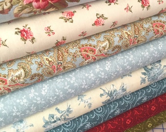 8 Shabby n Chic Quilt Fabric Fat Quarters ~ 1940's Reproduction ~ MRS MINIVER ~ by Red Rooster