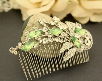 Pacific opal Crystal hair comb,Wedding decorative comb,Bridal hair comb,Wedding hair accessories,Bridal hair piece,Wedding comb,Bridal comb
