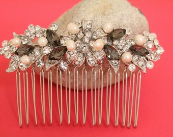 Greige crystal Wedding hair accessories,Bridal hair comb,Wedding hair jewelry,Bridal hair clip,Wedding headpiece,Bridal hair clip,Pearl comb
