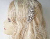 Hair Comb and a Birdcage Veil -(2 Items) - Bridal Headpiece, Bridal Comb, Weddings comb,Blusher Bird Cage Veil, Headpieces Birdcage Veil,