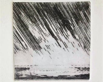 Original drypoint etching print storm over the ocean heavy rain handmade print