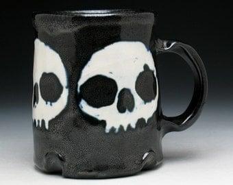 Triple Skulls Coffee Mug in Black & White Glaze