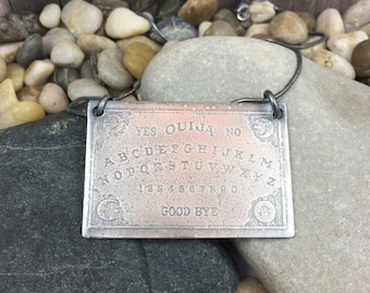 RESERVED for Magictreewitch - Large Sterling silver Ouija Board pendant, etched silver spirit board pendant
