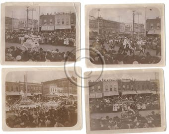 Antique Photographs, Parade Street Scenes Lot of 4