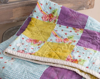 SALE!! Modern baby quilt - vintage Strawberry Shortcake - one of a kind