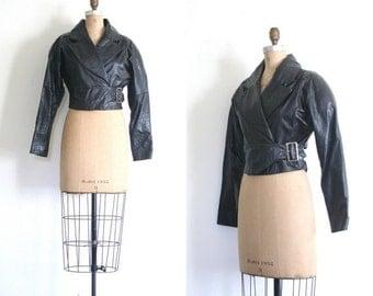 3 DAY SALE ladies 1980s black leather jacket - cropped moto jacket / Wilson's leather jacket - batwing sleeves / New Wave jacket - vintage 8
