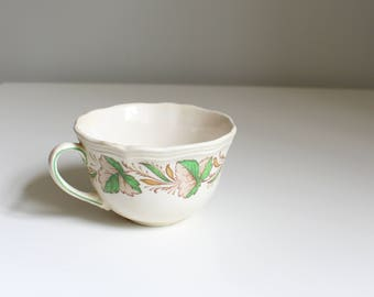 Royal Doulton Hereford tea cup - spearmint & brown transferware tea cup / vintage English china - leaf pattern china / made in England